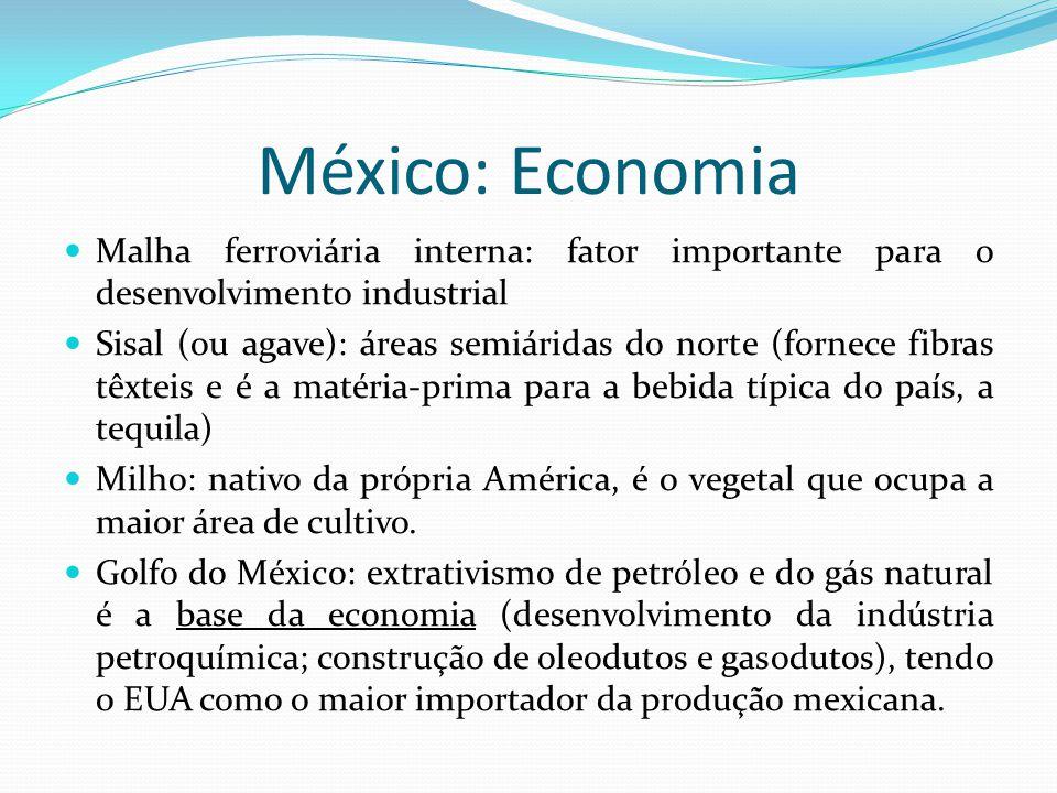 México: Economia Malha ferroviária interna: fator importante para o desenvolvimento industrial.