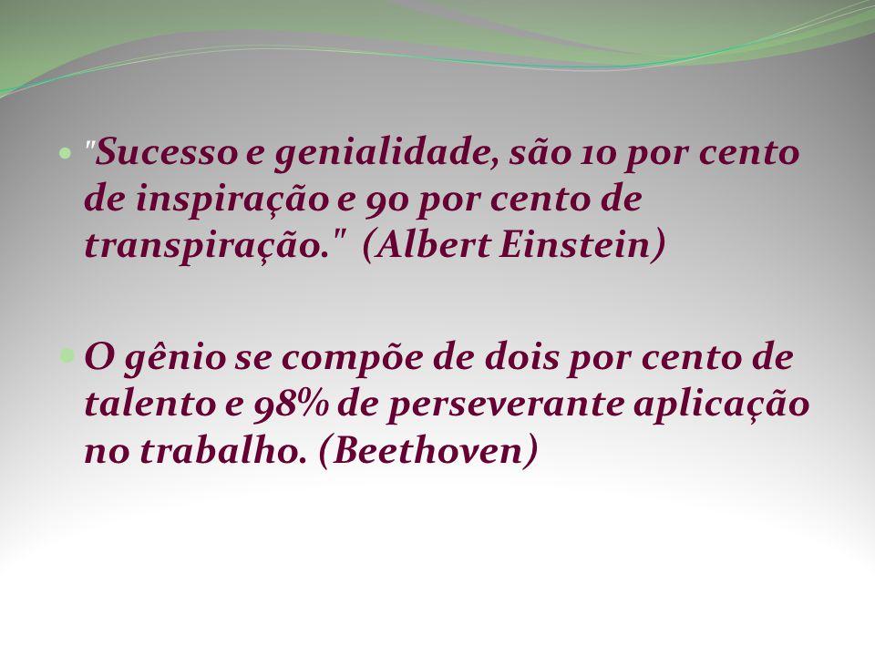 Sucesso e genialidade, são 10 por cento de inspiração e 90 por cento de transpiração. (Albert Einstein)