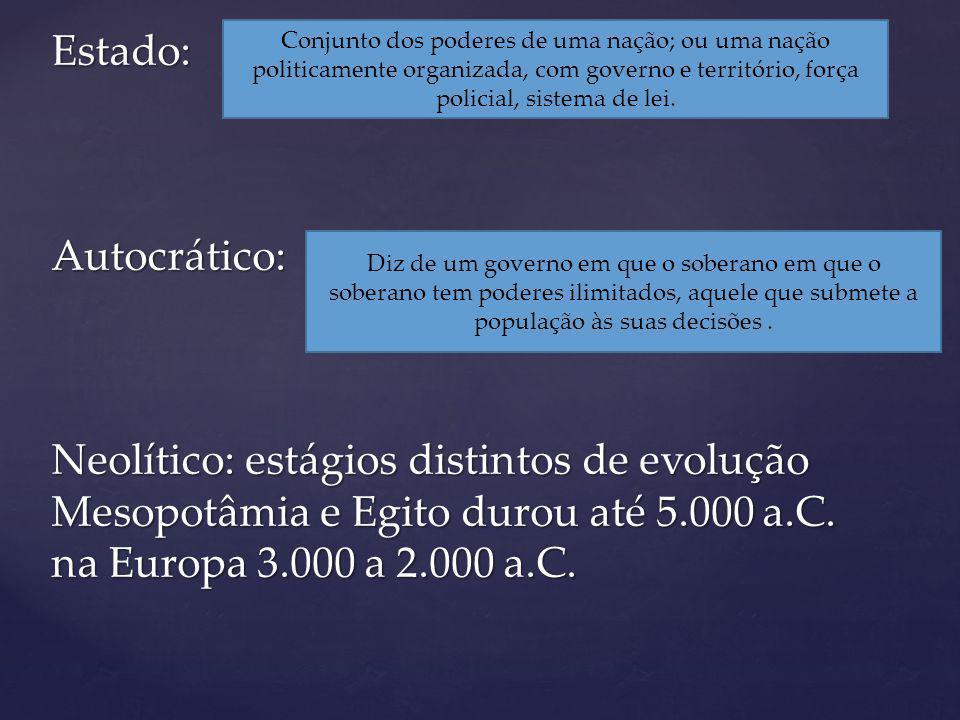 Estado: Autocrático: Neolítico: estágios distintos de evolução Mesopotâmia e Egito durou até 5.000 a.C. na Europa 3.000 a 2.000 a.C.
