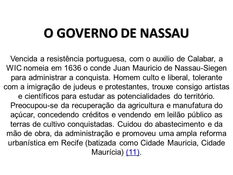 O GOVERNO DE NASSAU