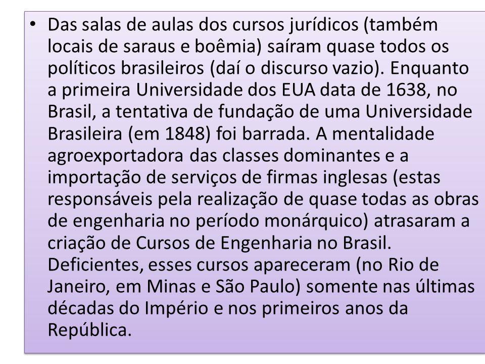 Das salas de aulas dos cursos jurídicos (também locais de saraus e boêmia) saíram quase todos os políticos brasileiros (daí o discurso vazio).