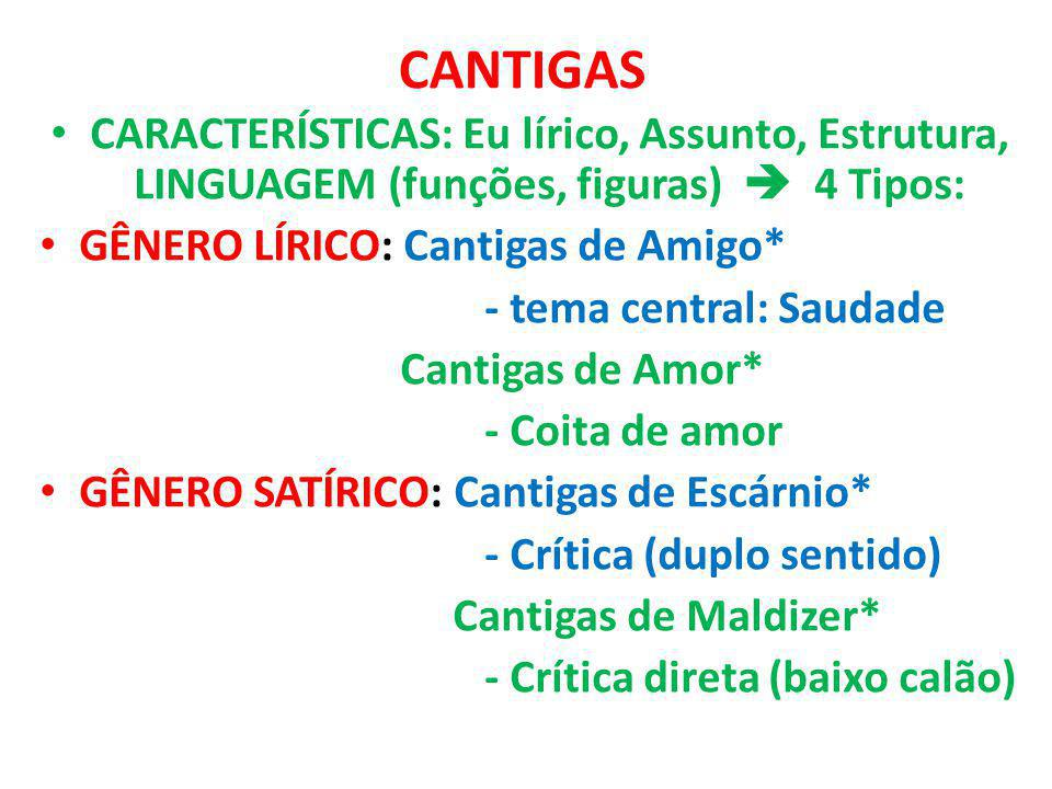 CANTIGAS CARACTERÍSTICAS: Eu lírico, Assunto, Estrutura, LINGUAGEM (funções, figuras)  4 Tipos: GÊNERO LÍRICO: Cantigas de Amigo*