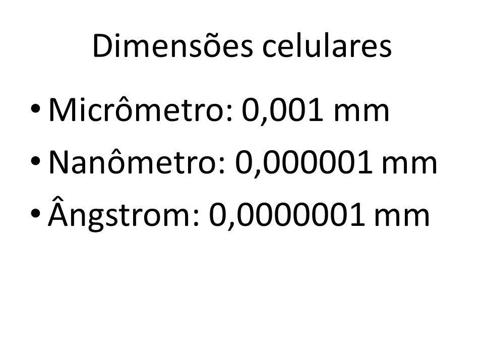 Dimensões celulares Micrômetro: 0,001 mm Nanômetro: 0,000001 mm Ângstrom: 0,0000001 mm