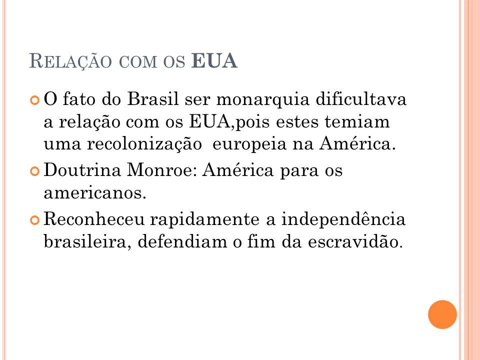 Relação com os EUA O fato do Brasil ser monarquia dificultava a relação com os EUA,pois estes temiam uma recolonização europeia na América.