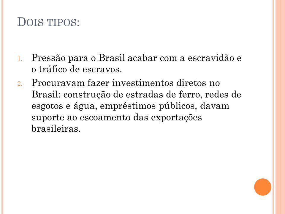 Dois tipos: Pressão para o Brasil acabar com a escravidão e o tráfico de escravos.