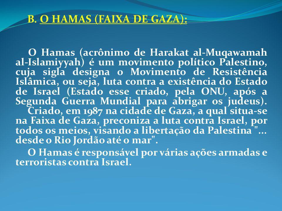 B. O HAMAS (FAIXA DE GAZA):