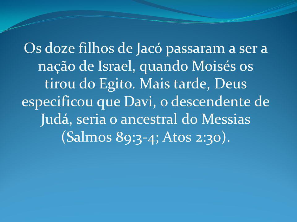 Os doze filhos de Jacó passaram a ser a nação de Israel, quando Moisés os tirou do Egito.
