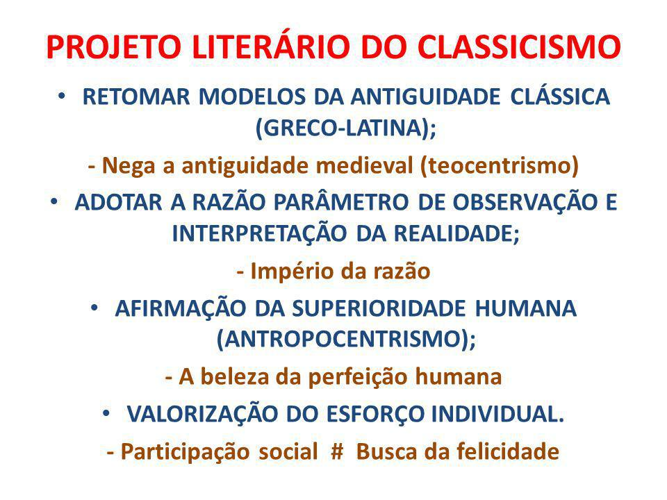 PROJETO LITERÁRIO DO CLASSICISMO