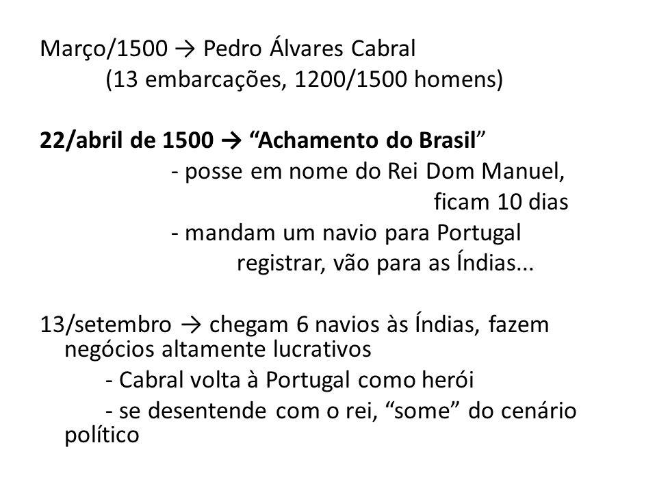 Março/1500 → Pedro Álvares Cabral