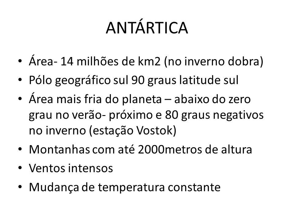 ANTÁRTICA Área- 14 milhões de km2 (no inverno dobra)