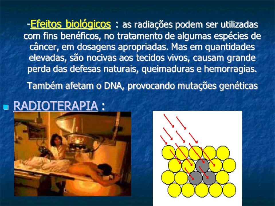 -Efeitos biológicos : as radiações podem ser utilizadas com fins benéficos, no tratamento de algumas espécies de câncer, em dosagens apropriadas. Mas em quantidades elevadas, são nocivas aos tecidos vivos, causam grande perda das defesas naturais, queimaduras e hemorragias. Também afetam o DNA, provocando mutações genéticas