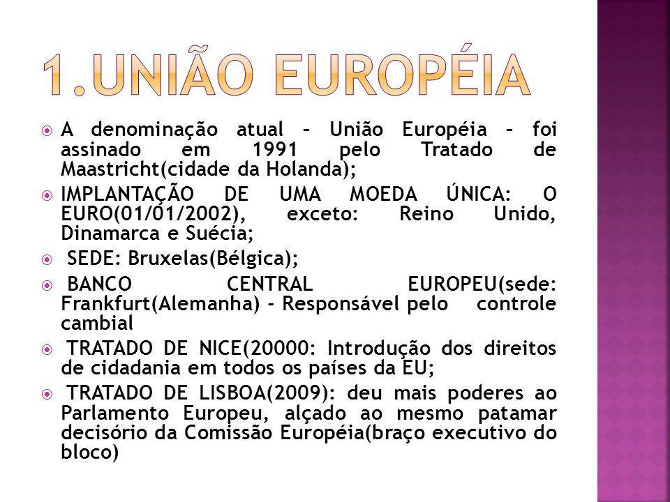 1.UNIÃO EUROPÉIA A denominação atual – União Européia – foi assinado em 1991 pelo Tratado de Maastricht(cidade da Holanda);