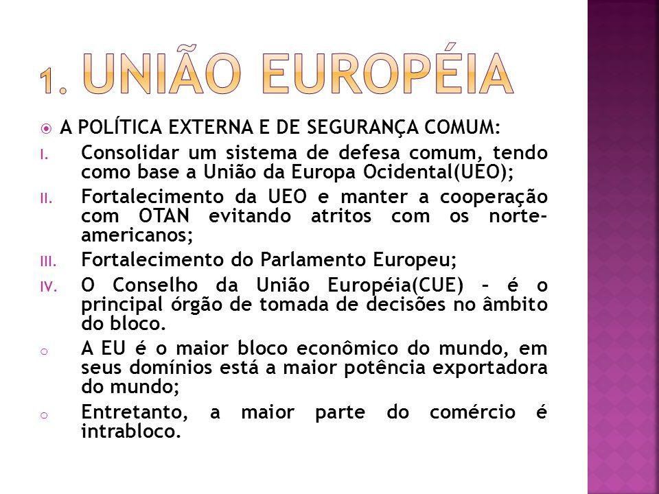 1. UNIÃO EUROPÉIA A POLÍTICA EXTERNA E DE SEGURANÇA COMUM: