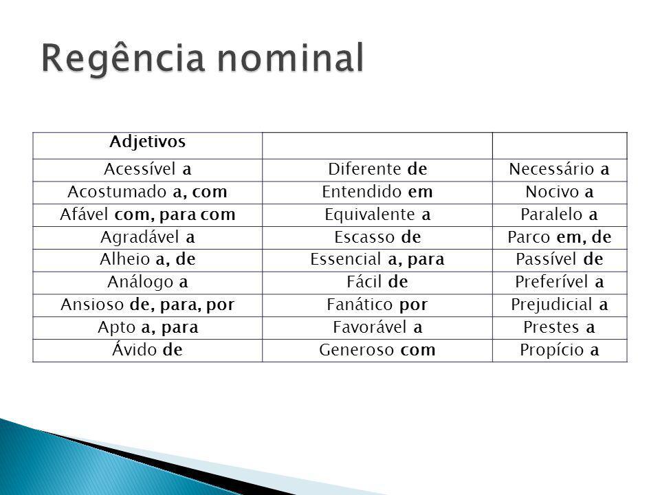Regência nominal Adjetivos Acessível a Diferente de Necessário a
