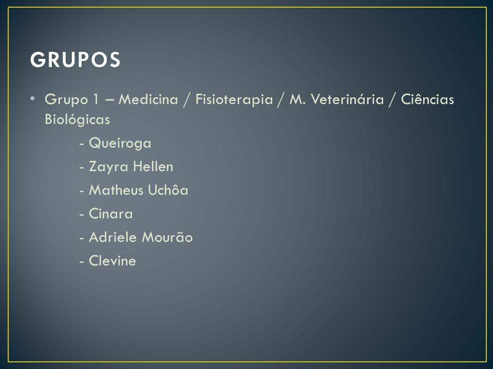GRUPOS Grupo 1 – Medicina / Fisioterapia / M. Veterinária / Ciências Biológicas. - Queiroga. - Zayra Hellen.