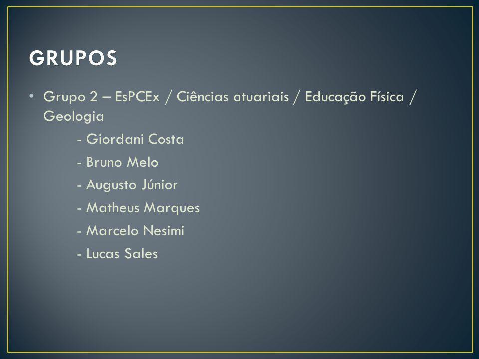 GRUPOS Grupo 2 – EsPCEx / Ciências atuariais / Educação Física / Geologia. - Giordani Costa. - Bruno Melo.