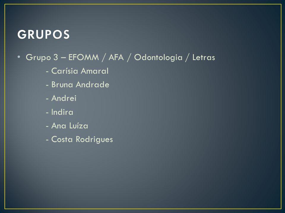 GRUPOS Grupo 3 – EFOMM / AFA / Odontologia / Letras - Carísia Amaral