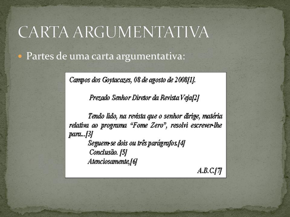 CARTA ARGUMENTATIVA Partes de uma carta argumentativa: