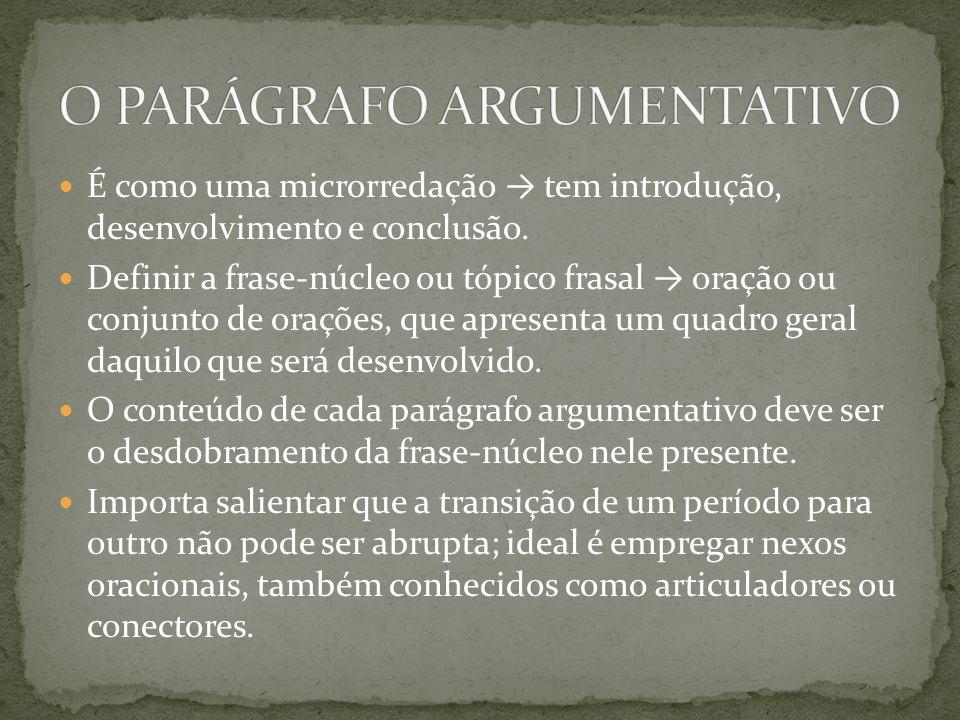 O PARÁGRAFO ARGUMENTATIVO