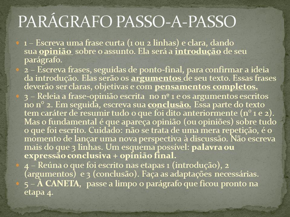 PARÁGRAFO PASSO-A-PASSO