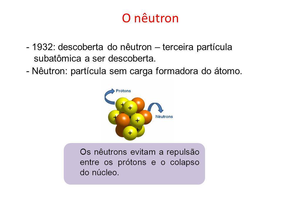 O nêutron - 1932: descoberta do nêutron – terceira partícula subatômica a ser descoberta. - Nêutron: partícula sem carga formadora do átomo.