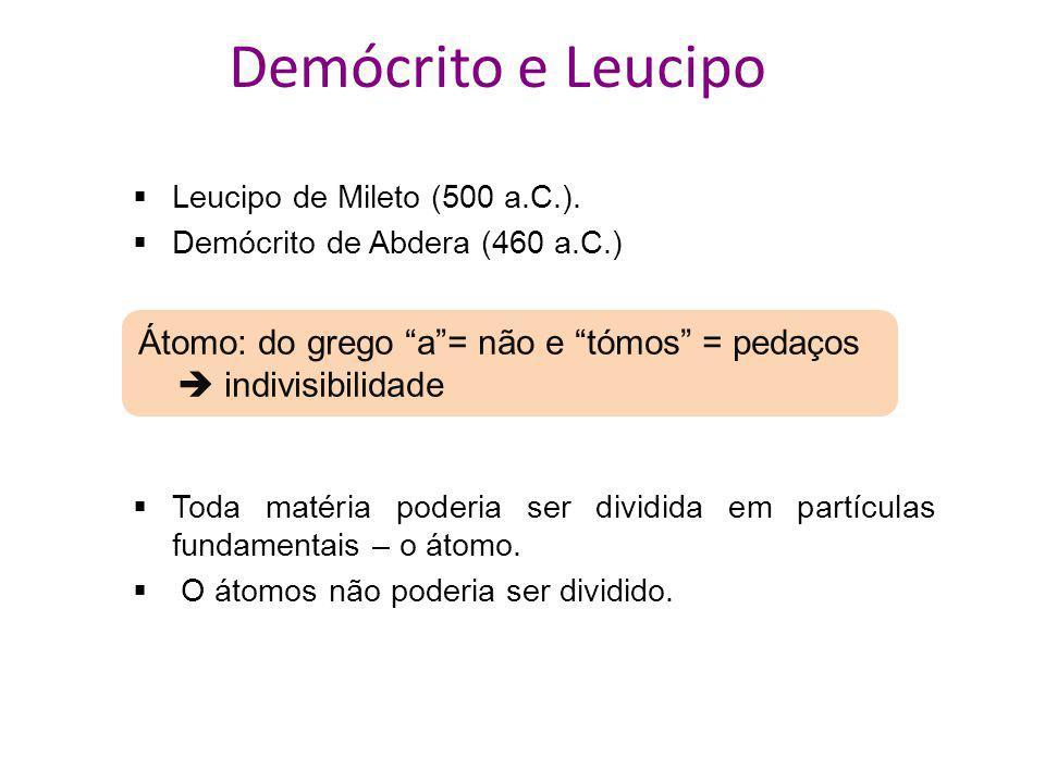 Demócrito e Leucipo Leucipo de Mileto (500 a.C.). Demócrito de Abdera (460 a.C.) Átomo: do grego a = não e tómos = pedaços  indivisibilidade.