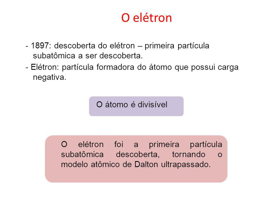 O elétron - 1897: descoberta do elétron – primeira partícula subatômica a ser descoberta.