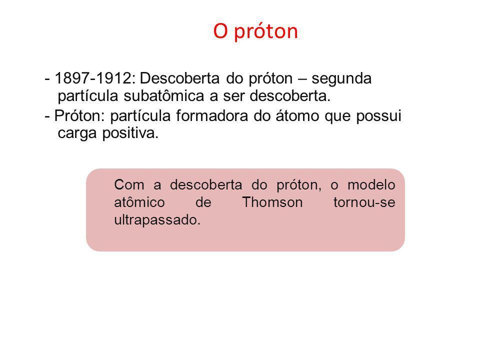 O próton - 1897-1912: Descoberta do próton – segunda partícula subatômica a ser descoberta.