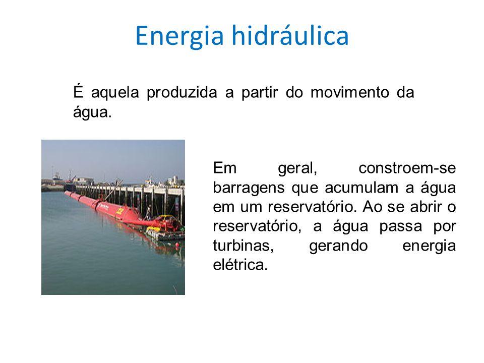 Energia hidráulica É aquela produzida a partir do movimento da água.