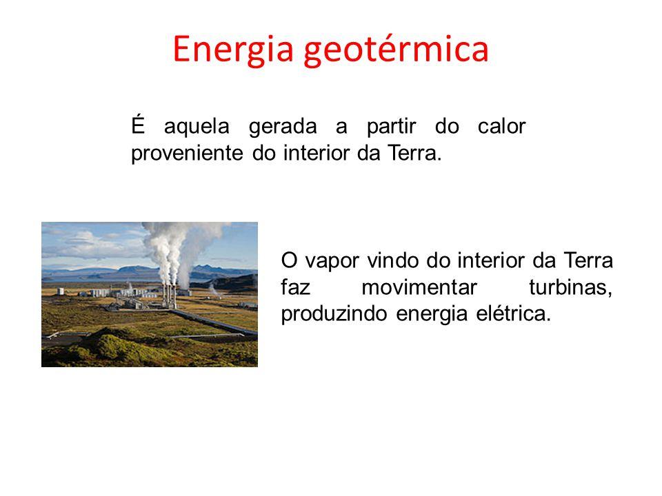 Energia geotérmica É aquela gerada a partir do calor proveniente do interior da Terra.