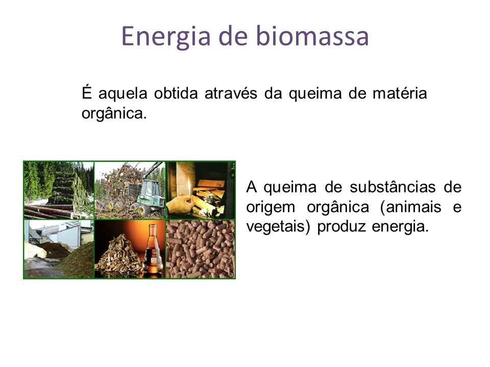 Energia de biomassa É aquela obtida através da queima de matéria orgânica.