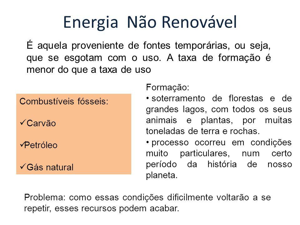 Energia Não Renovável É aquela proveniente de fontes temporárias, ou seja, que se esgotam com o uso. A taxa de formação é menor do que a taxa de uso.