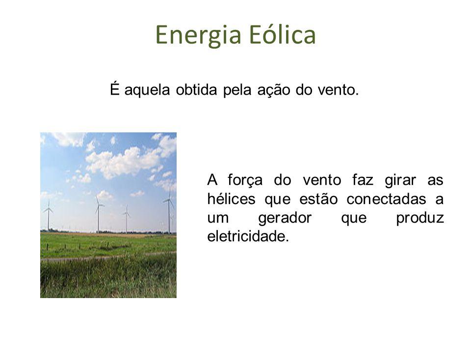 Energia Eólica É aquela obtida pela ação do vento.