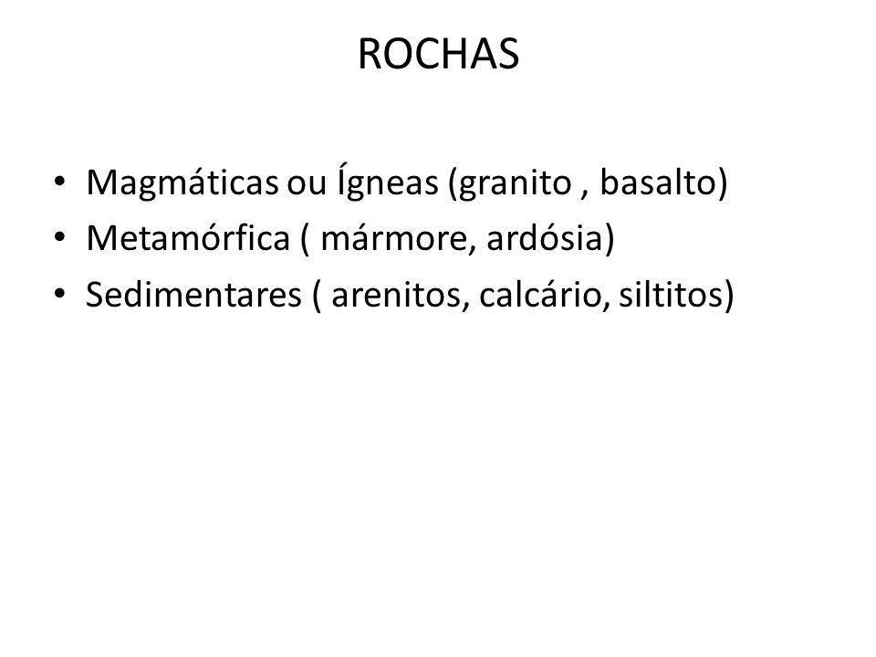 ROCHAS Magmáticas ou Ígneas (granito , basalto)