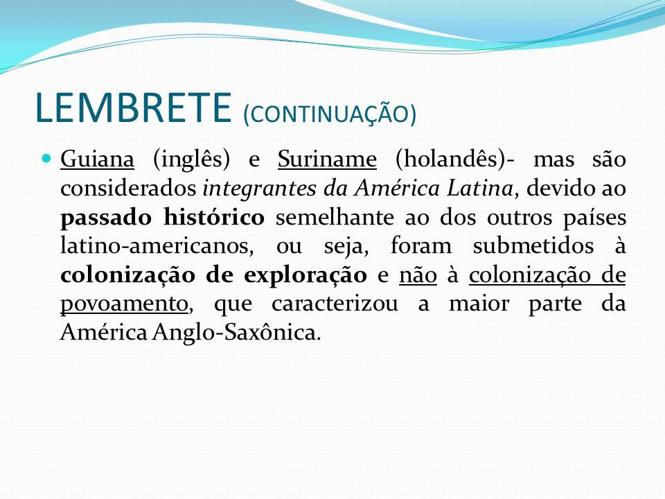 LEMBRETE (CONTINUAÇÃO)