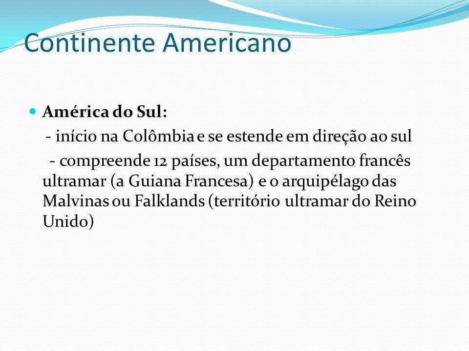 Continente Americano América do Sul:
