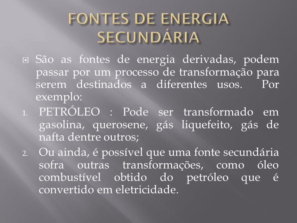FONTES DE ENERGIA SECUNDÁRIA