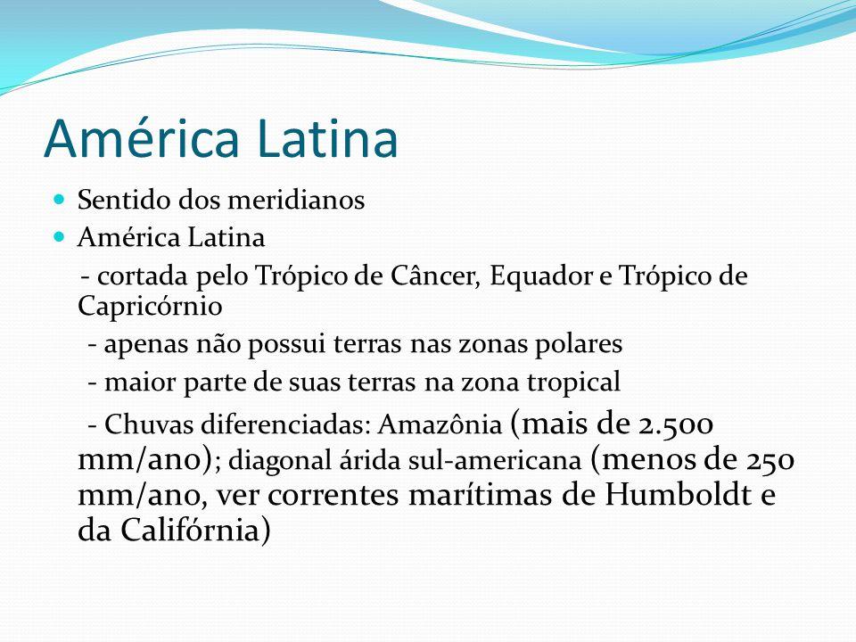 América Latina Sentido dos meridianos América Latina