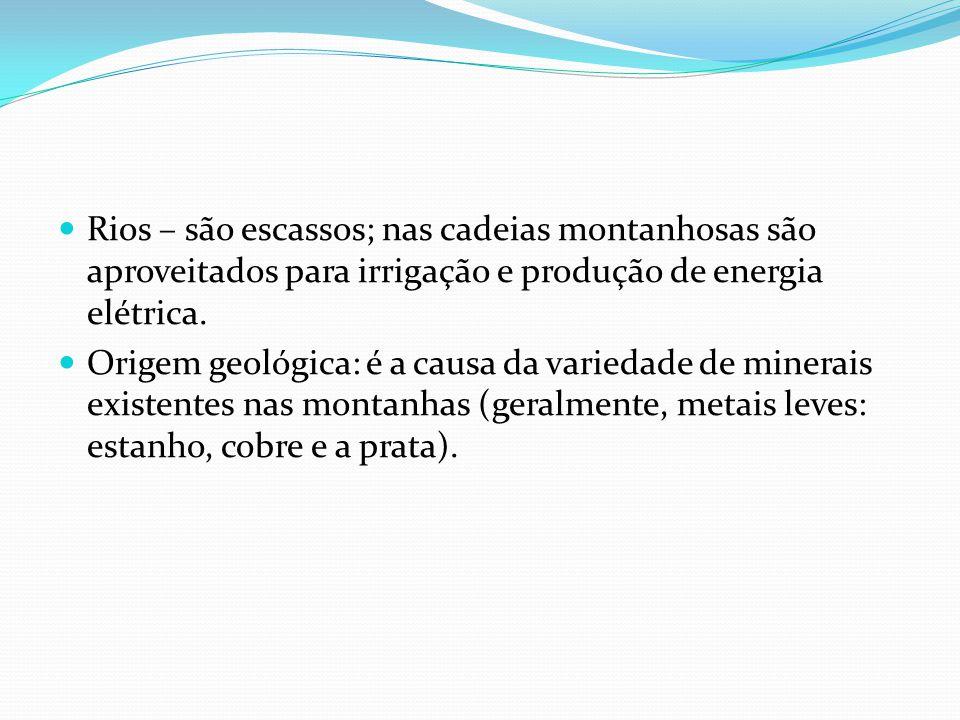 Rios – são escassos; nas cadeias montanhosas são aproveitados para irrigação e produção de energia elétrica.