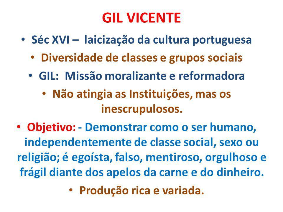 GIL VICENTE Séc XVI – laicização da cultura portuguesa