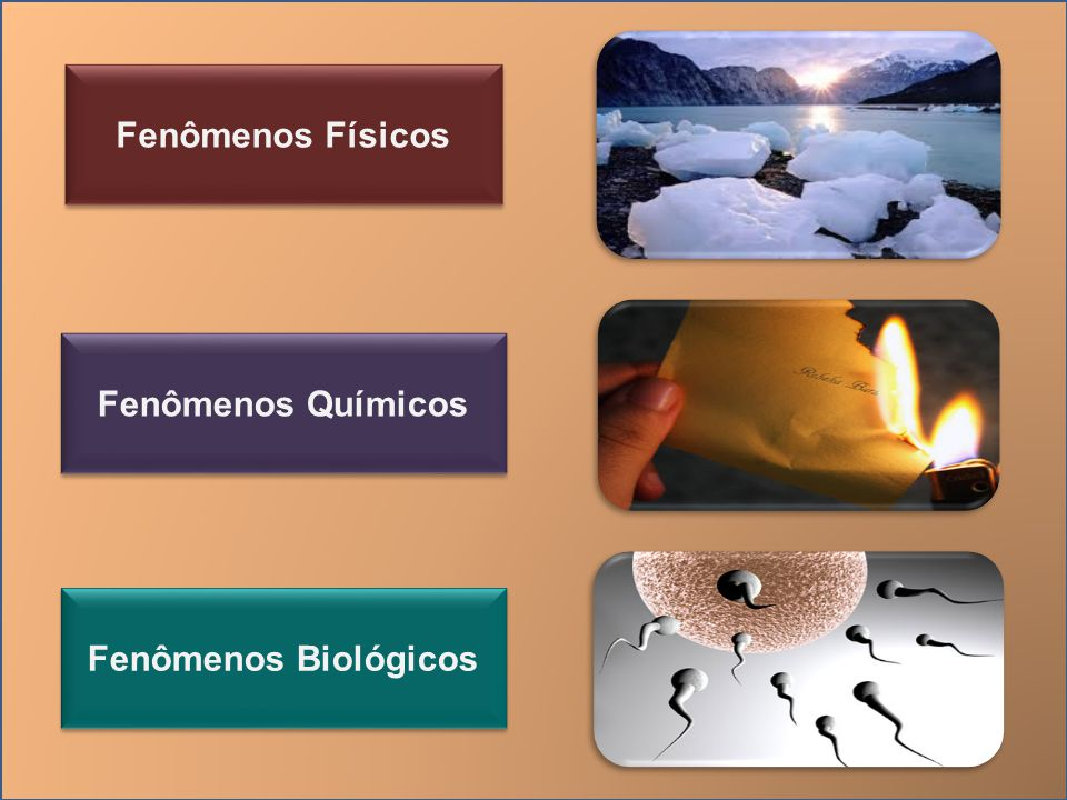 Fenômenos Físicos Fenômenos Químicos Fenômenos Biológicos