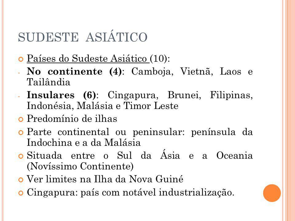 SUDESTE ASIÁTICO Países do Sudeste Asiático (10):