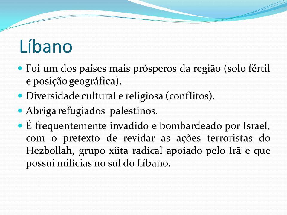 Líbano Foi um dos países mais prósperos da região (solo fértil e posição geográfica). Diversidade cultural e religiosa (conflitos).