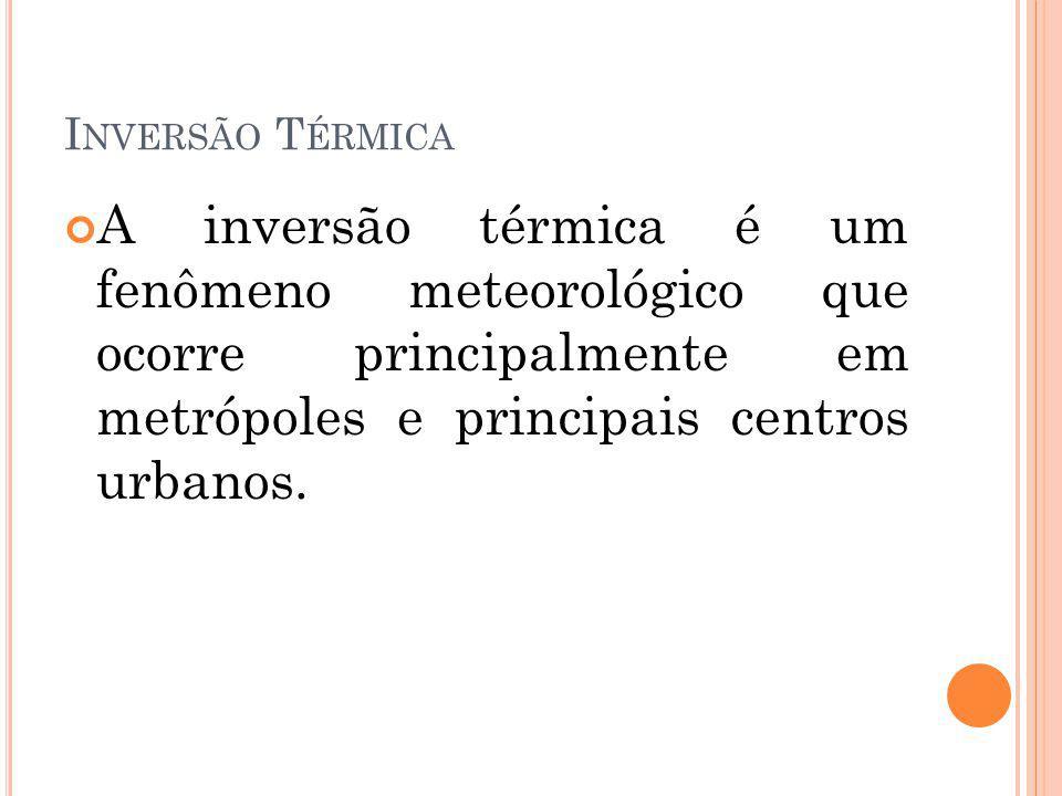 Inversão Térmica A inversão térmica é um fenômeno meteorológico que ocorre principalmente em metrópoles e principais centros urbanos.