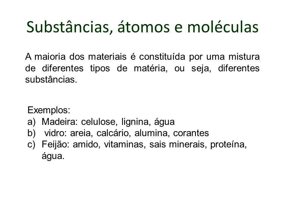 Substâncias, átomos e moléculas