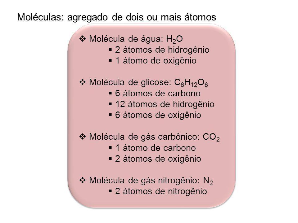 Moléculas: agregado de dois ou mais átomos