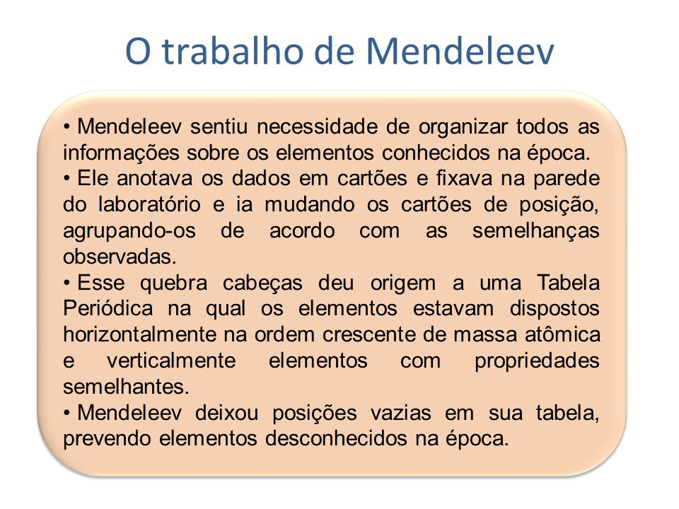 O trabalho de Mendeleev