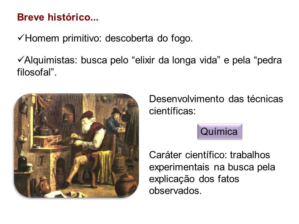 Breve histórico... Homem primitivo: descoberta do fogo. Alquimistas: busca pelo elixir da longa vida e pela pedra filosofal .