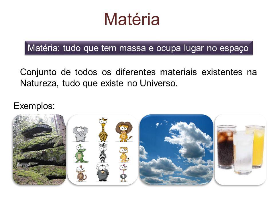 Matéria Matéria: tudo que tem massa e ocupa lugar no espaço