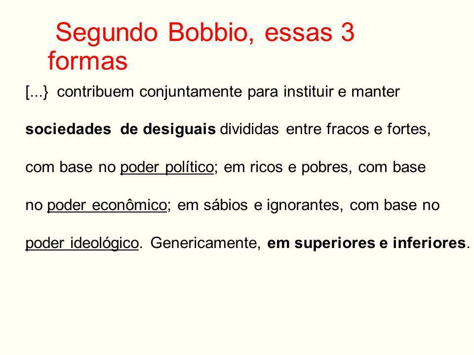 Segundo Bobbio, essas 3 formas